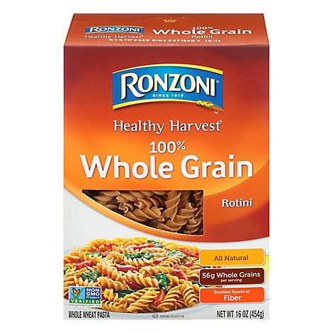 Ronzoni Pasta Healthy Harvest Rotini 100% Whole Grain Box - 16 Oz
