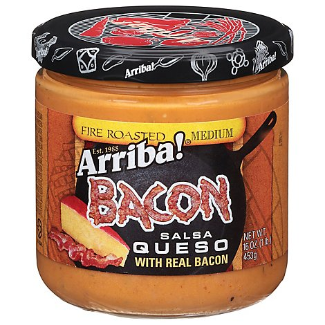 Arriba! Salsa Queso Fire Roasted Bacon Medium Jar - 16 Oz