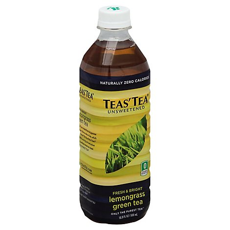 TEAS TEA Unsweetened Green Tea Fresh & Bright Lemongrass - 16.9 Fl. Oz.