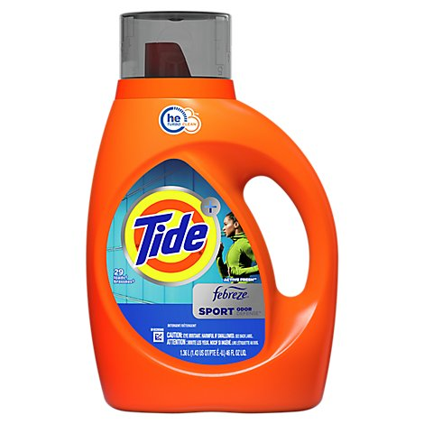 Tide Plus Laundry Detergent Liquid Febreze Freshness HE Clean Sport Odor Defense - 46 Fl. Oz.
