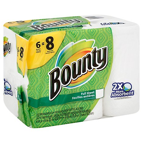 Bounty Paper Towels Full Sheet Big Rolls 2-Ply White Wrapper - 6 Roll