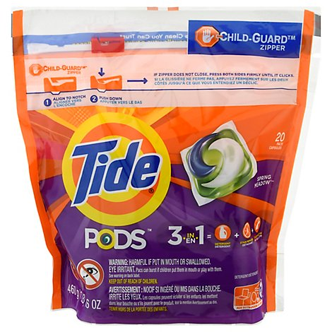 Tide PODS Detergent 3 in 1 Spring Meadow Pouch - 20 Count