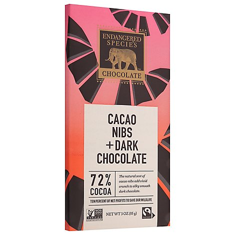 Endan Chocolate Bar Bat Dark Intns 75% With Nibs - 3.0 Oz