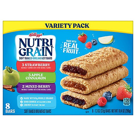 Nutri-Grain Soft Baked Breakfast Bars Variety Pack 8 Count - 10.4 Oz