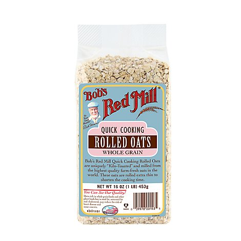 Bobs Red Mill Oats Rolled Whole Grain Quick Cooking - 16 Oz