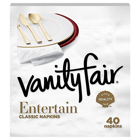 Vanity Fair Entertain Napkins Classic White - 40 Count