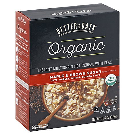 Better Oats Raw Pure & Simple Cereal Organic Hot Instant Multigrain Maple & Brown Sugar - 8 Count