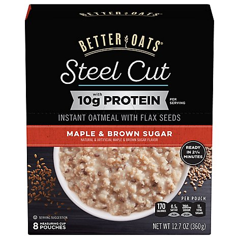 Better Oats Oat Revolution! Oatmeal Instant Steel Cut With Flax Maple & Brown Sugar - 12.7 Oz