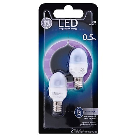 GE 0.5w Led Night Light Wht - 2 Count