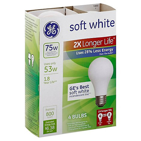 GE Light Bulbs Incandescent Soft White 53 Watts 2x Longer Life - 4 Count