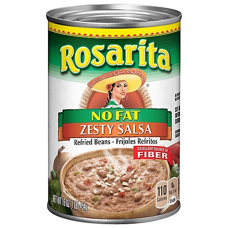 Rosarita Beans Refried No Fat Zesty Salsa Can - 16 Oz