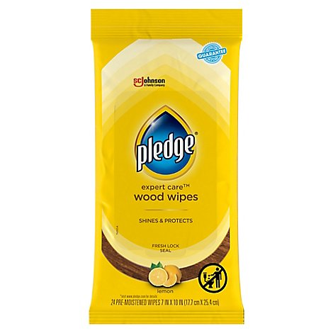 Pledge Lemon Enhancing Wipes - Dust Clean Shine Wood Stainless Steel and More (1 Pack) 24 ct