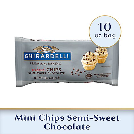Ghirardelli Chocolate Baking Chips Premium Semi-Sweet Chocolate Mini Chips - 10 Oz