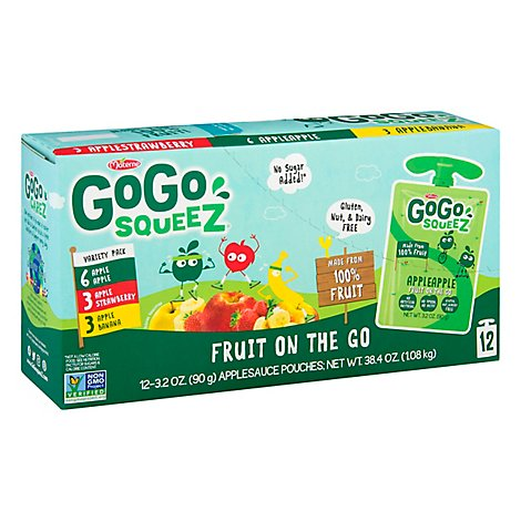 GoGo squeeZ Applesauce Variety Pack Apple Banana Strawberry - 12-3.2 Oz