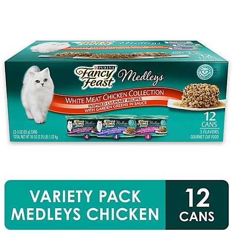 Fancy Feast Cat Food Wet Medleys White Meat Chicken Tuscany - 12-3 Oz