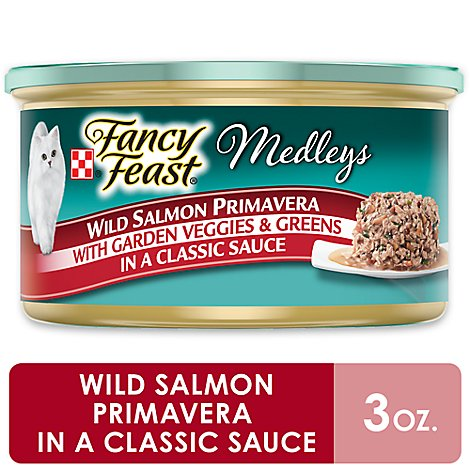 Fancy Feast Cat Food Wet Medleys Wild Salmon Primavera In Sauce - 3 Oz