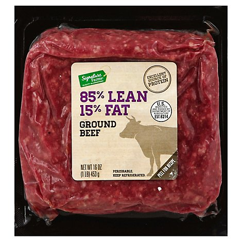 Signature Farms Beef Ground Beef Brick Pack 85% Lean 15% Fat - 16 Oz