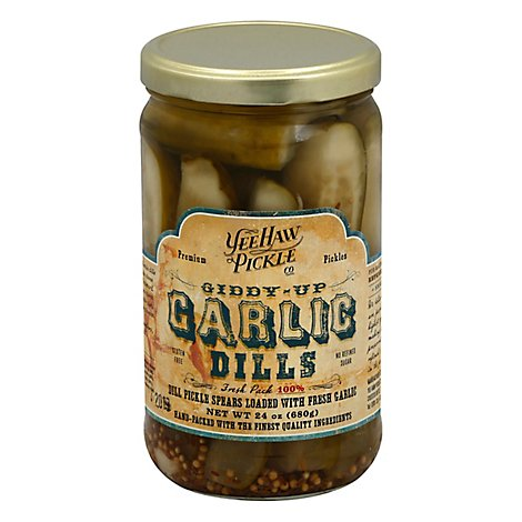 Yee-Haw Pickle Co. Pickles Dills Giddy Up Garlic - 24 Oz