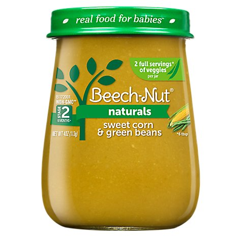 Beech Nut Naturals Baby Food Stage 2 Sweet Corn And Green Beans - 4 Oz