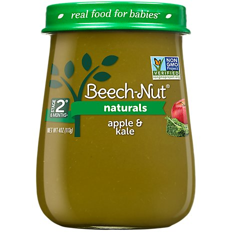 Beech-Nut Baby Food Naturals Stage 2 Just Apple & Kale Jar - 4 Oz