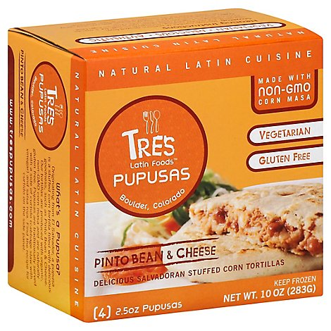 Tres Latin Foods Pinto Bean & Cheese Pupusas - 4-2.5 Oz