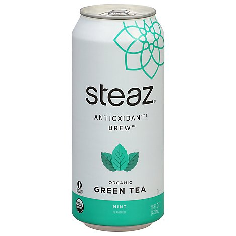 steaz Iced Green Tea Organic Lightly Sweetened Mint - 16 Fl. Oz.