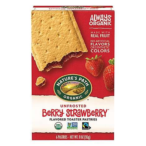 Natures Path Organic Toaster Pastries Unfrosted Berry Strawberry - 11 Oz