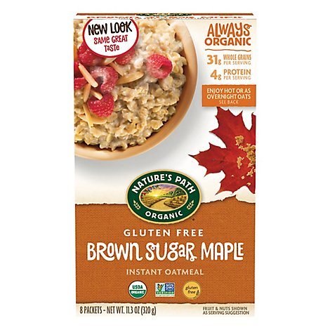 Natures Path Organic Oatmeal Gluten Free Brown Sugar Maple - 11.3 Oz