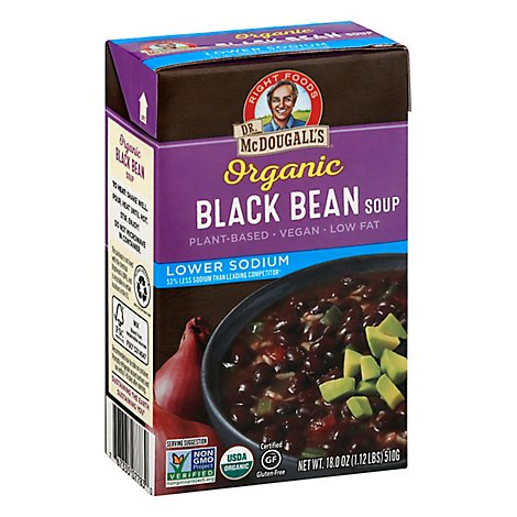 Dr. McDougalls Soup Organic Gluten Free Black Bean Lower Sodium - 18 Oz