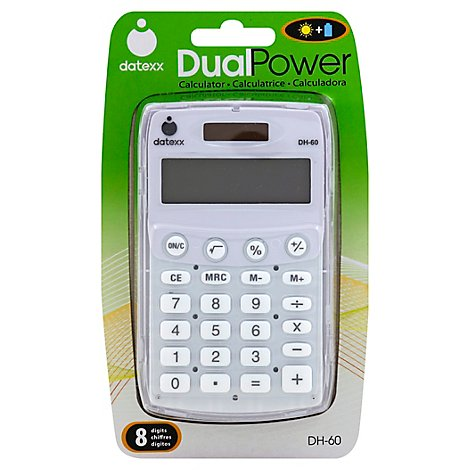 Datexx Calculator Dual-Power 8 Digits DH-60 - Each