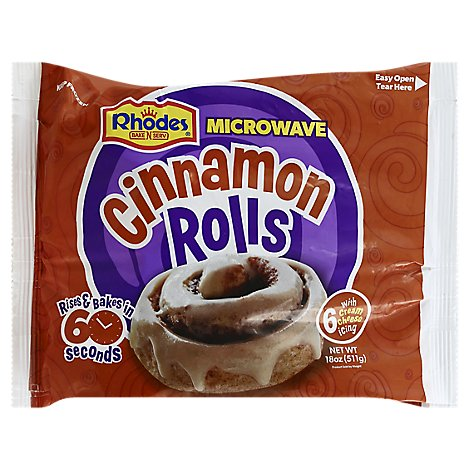 Rhodes Bake N Serv Microwave Rolls Cinnamon With Cream Cheese Icing 6 Count - 18 Oz