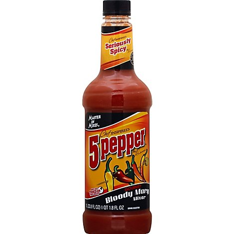 Master Of Mixes Mixer Gourmet Bloody Mary 5 Pepper Seriously Spicy - 33.8 Fl. Oz.