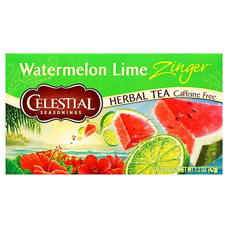 Celestial Seasonings Herbal Tea Caffeine Free Watermelon Lime Zinger - 20 Count
