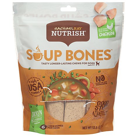 Rachael Ray Nutrish Soup Bones Dog Chews Chicken & Beggies Pouch 6 Count - 12.6 Oz
