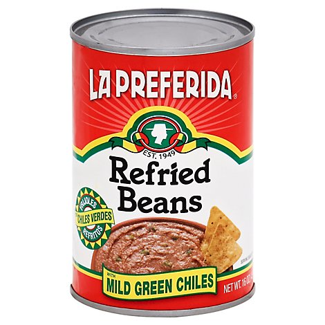 La Preferida Beans Refried Mild Green Chiles Can - 16 Oz