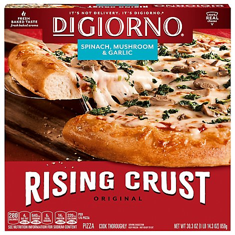 DIGIORNO Pizza Original Rising Crust Spinach Mushroom & Garlic Frozen - 30.3 Oz