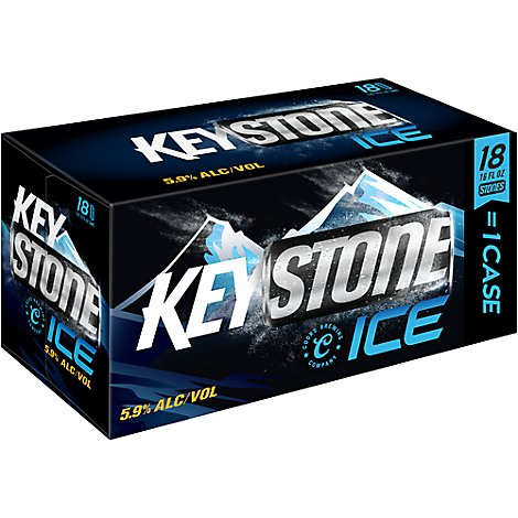 Keystone Ice Lager Beer Cans 5.9% ABV - 18-16 Fl. Oz.