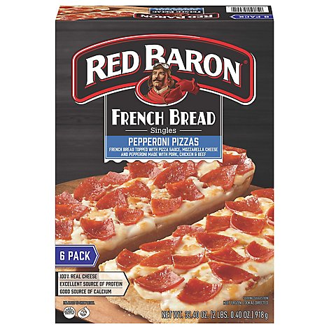 Red Baron Pizza French Bread Singles Pepperoni Value Pack 6 Count - 32.4 Oz