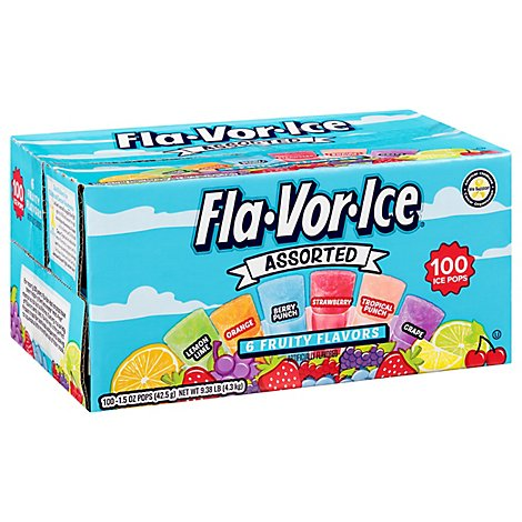 Fla-Vor-Ice Pops Fruity Flavors Assorted Giant - 100-1.5 Oz