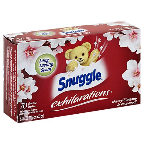 Snuggle Exhilarations Fabric Softener Sheets Cherry Blossom & Rosewood Box - 70 Count