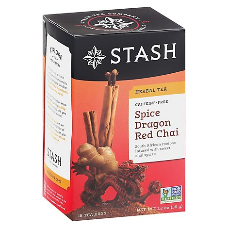 Stash Herbal Tea Caffeine Free Spice Dragon Red Chai - 18 Count