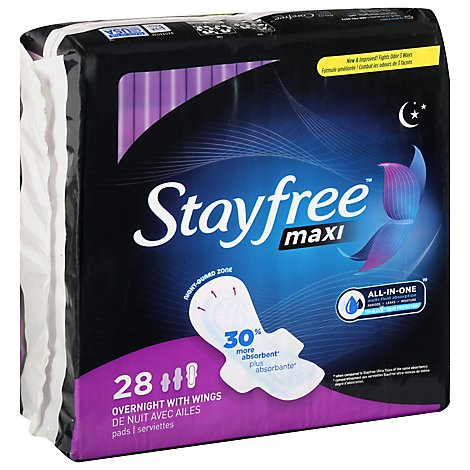 Stayfree Maxi Pads With Wings Overnight With Night Guard Zone - 28 Count