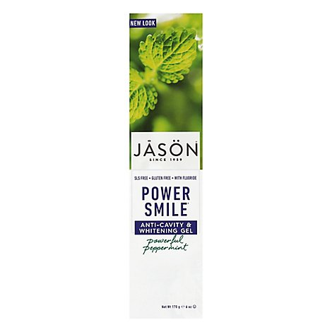 JASON Toothpaste Power Smile Anti-Cavity Whitening Powerful Peppermint - 6 Oz