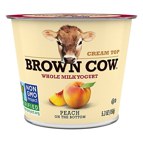 Brown Cow Yogurt Whole Milk Cream Top On the Bottom Peach - 5.3 Oz