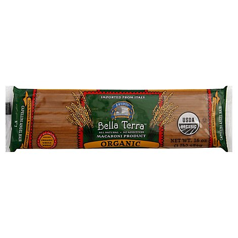 Bella Terra Pasta Organic Capellini Angel Hair No. 2 - 16 Oz