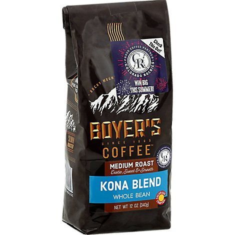 Boyers Coffee Coffee Whole Bean Medium Roast Kona Blend - 12 Oz