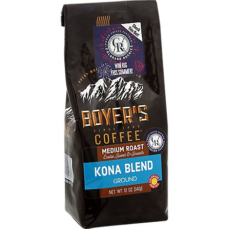Boyers Coffee Coffee Ground Medium Roast Kona Blend - 12 Oz