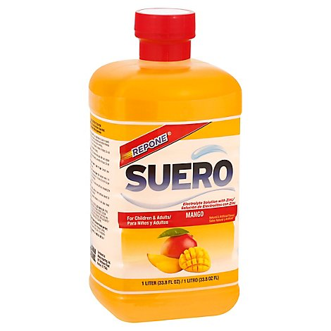 SUERO ORAL Electrolyte Solution With Zinc Mango Bottle - 33.8 Fl. Oz.