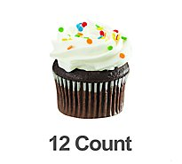 Bakery Cupcake Chocolate With White Icing 12 Count - Each