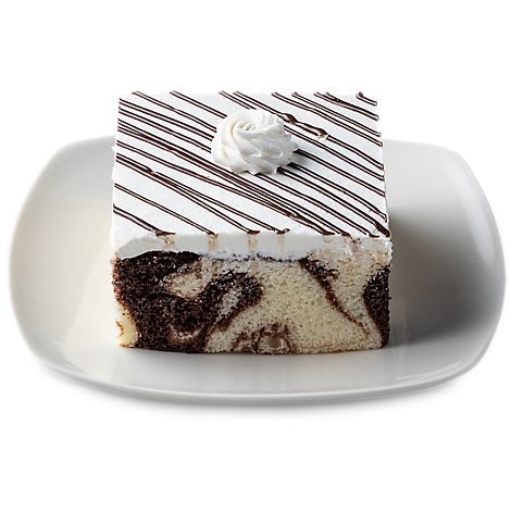 Bakery Cake Square Slice Marble Single Serve - Each (590 Cal)